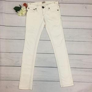 Free People 25 White Skinny Low Rise Denim Jeans